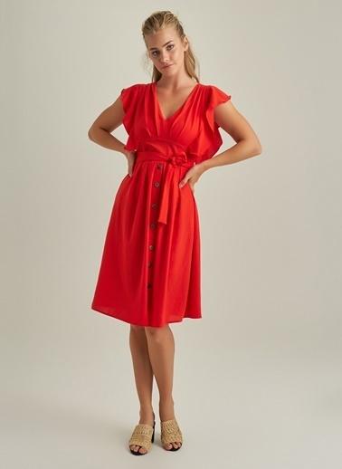 NGSTYLE Volan Kollu Düğmeli Elbise Kırmızı